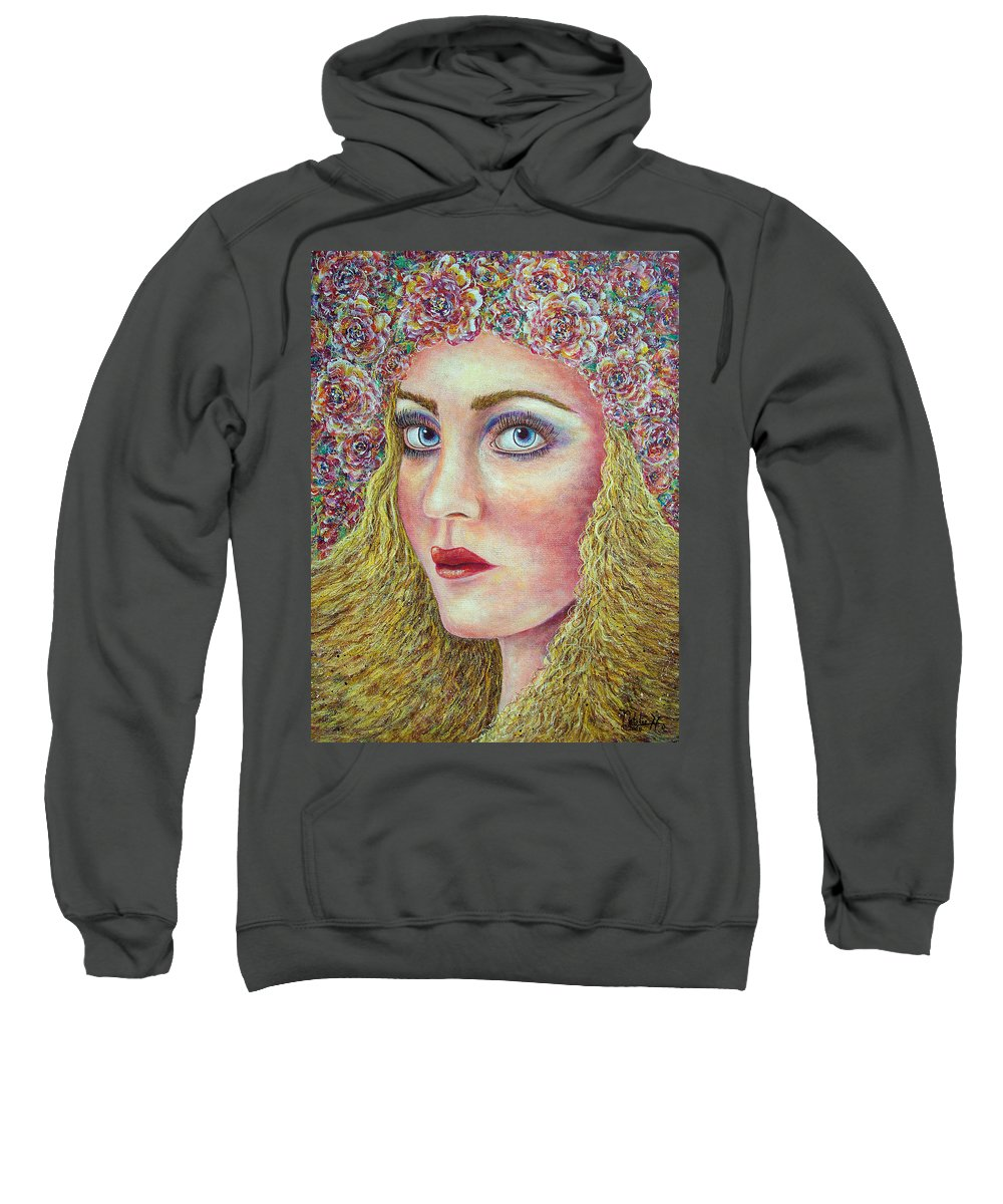 Woman Sweatshirt featuring the painting  The Flower Girl by Natalie Holland