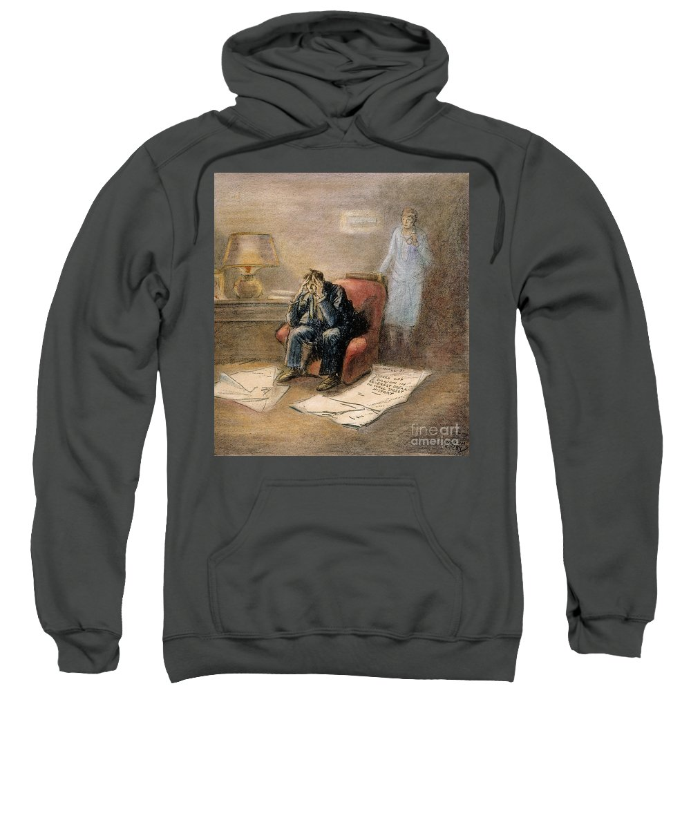1929 Sweatshirt featuring the painting Stock Market Cartoon by Granger