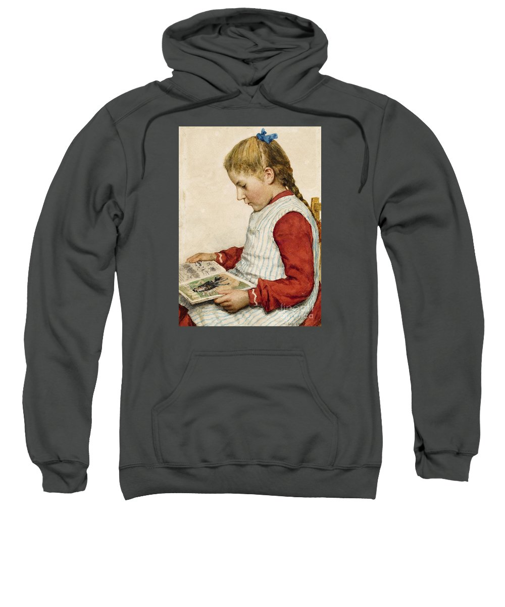 Albert Anker. . 1831 Ins - 1910 Ins. . A Girl Looking At A Book. Sweatshirt featuring the painting A Girl Looking At A Book by Celestial Images