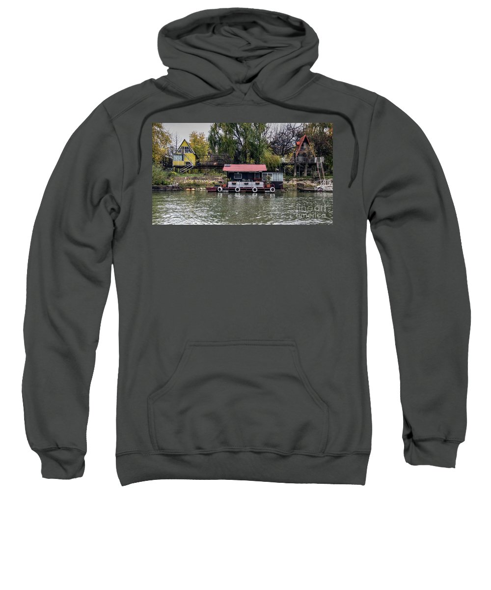 Raft Sweatshirt featuring the photograph A Raft House Moored To The Shoreline Of Ada Medjica Islet by Bratislav Stefanovic