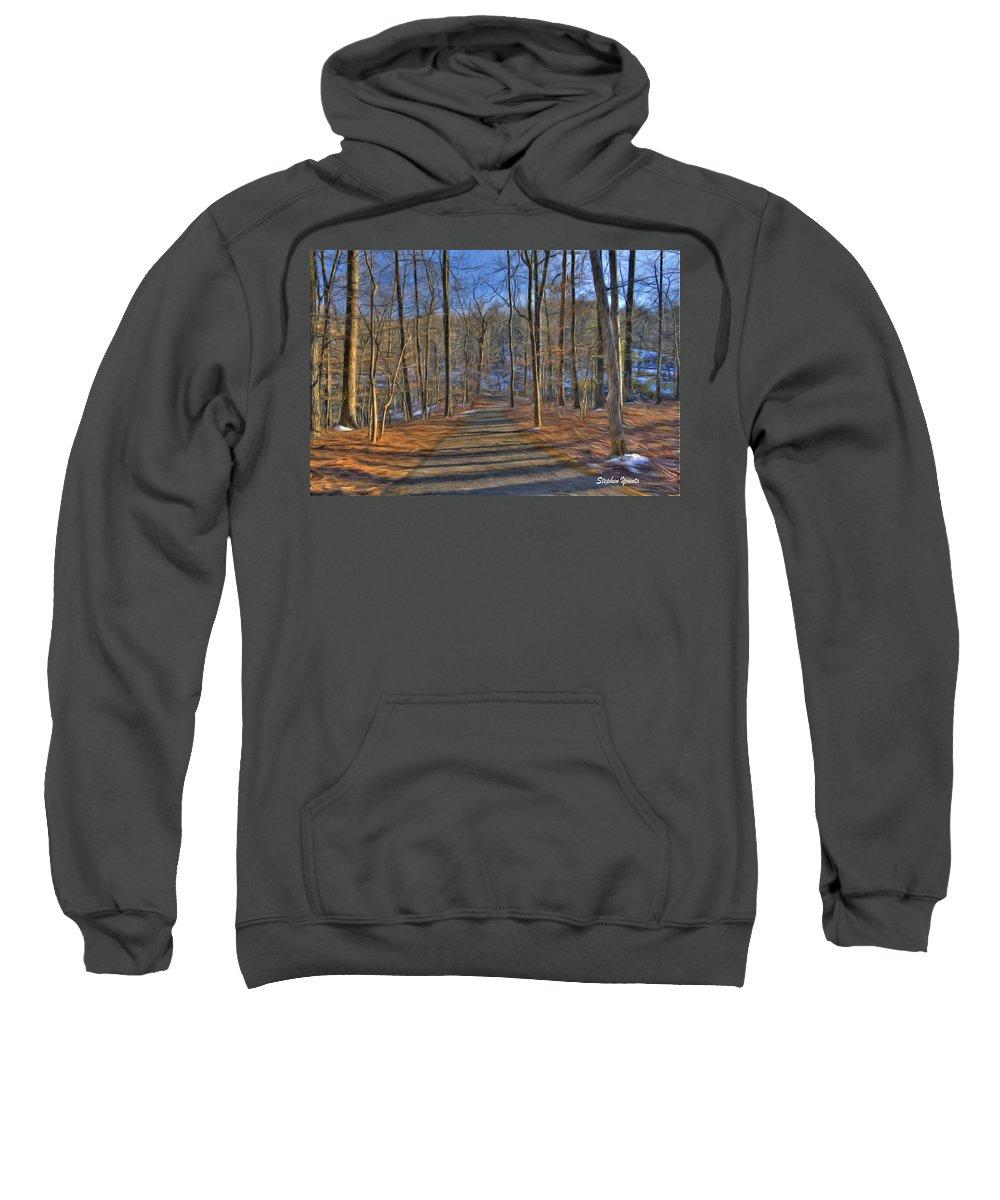 West Sweatshirt featuring the digital art A Winter's Walk by Stephen Younts