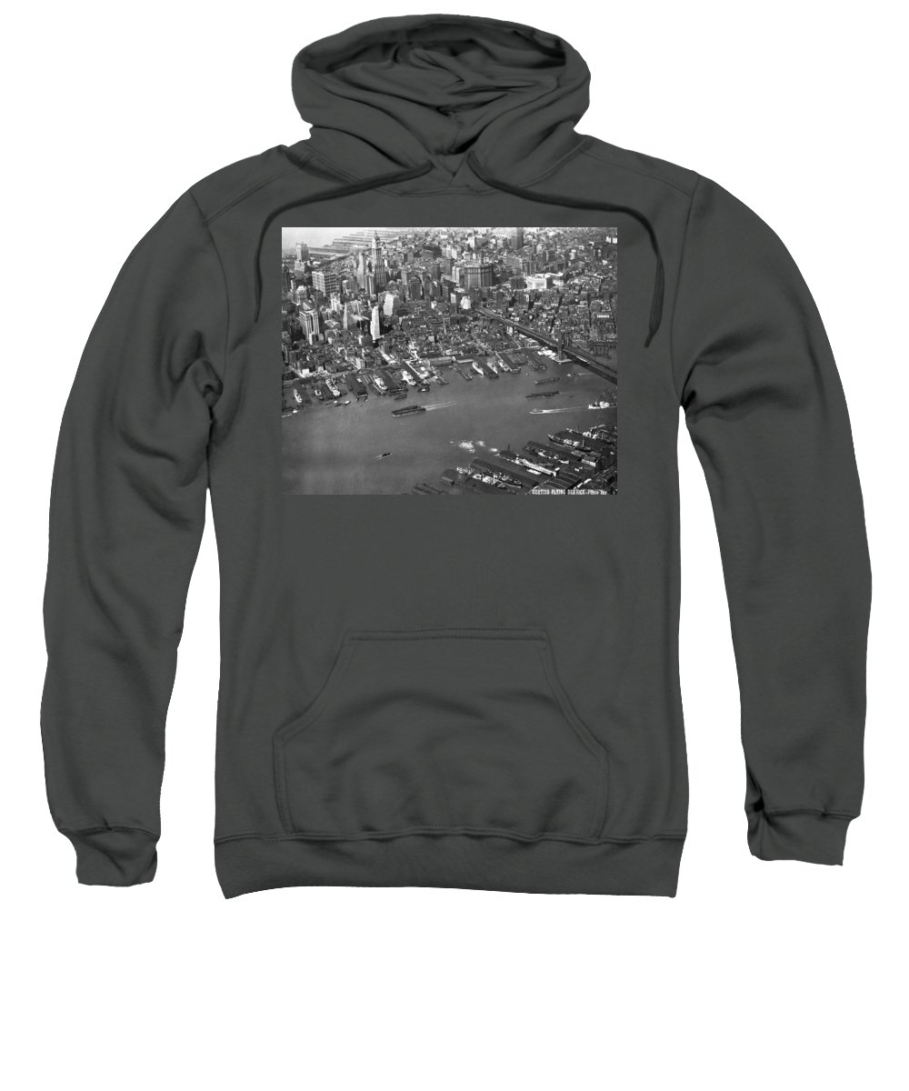 1920s Sweatshirt featuring the photograph Aerial View Of Lower Manhattan by Underwood Archives