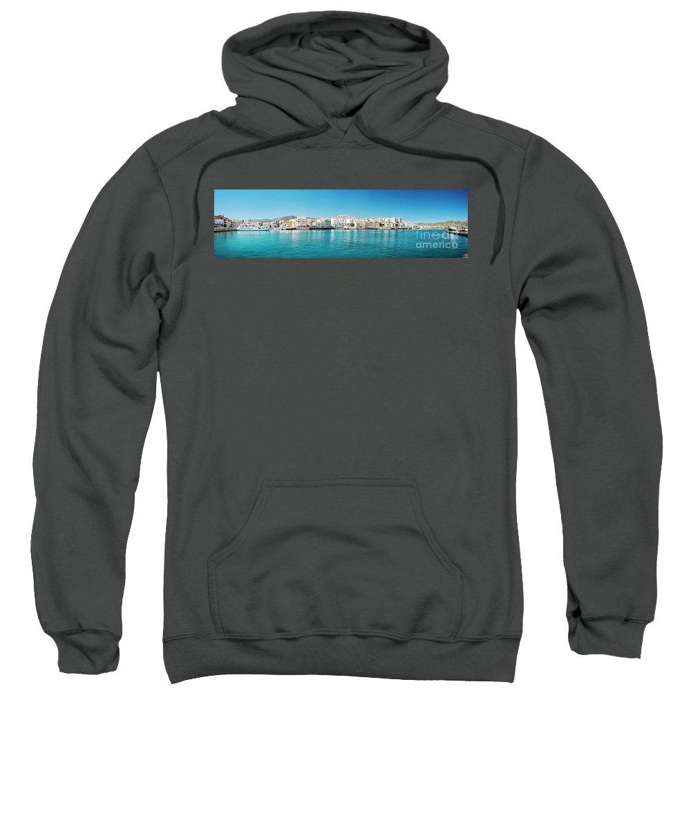 Greece Sweatshirt featuring the photograph Agios Nikolaos Panorama by Antony McAulay