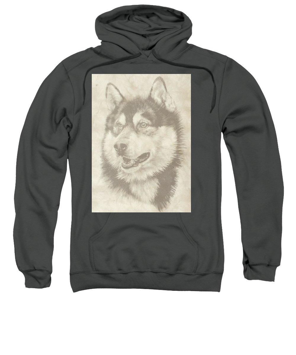Malamute Sweatshirt featuring the mixed media Alaskan Malamute And Pup by Barbara Keith