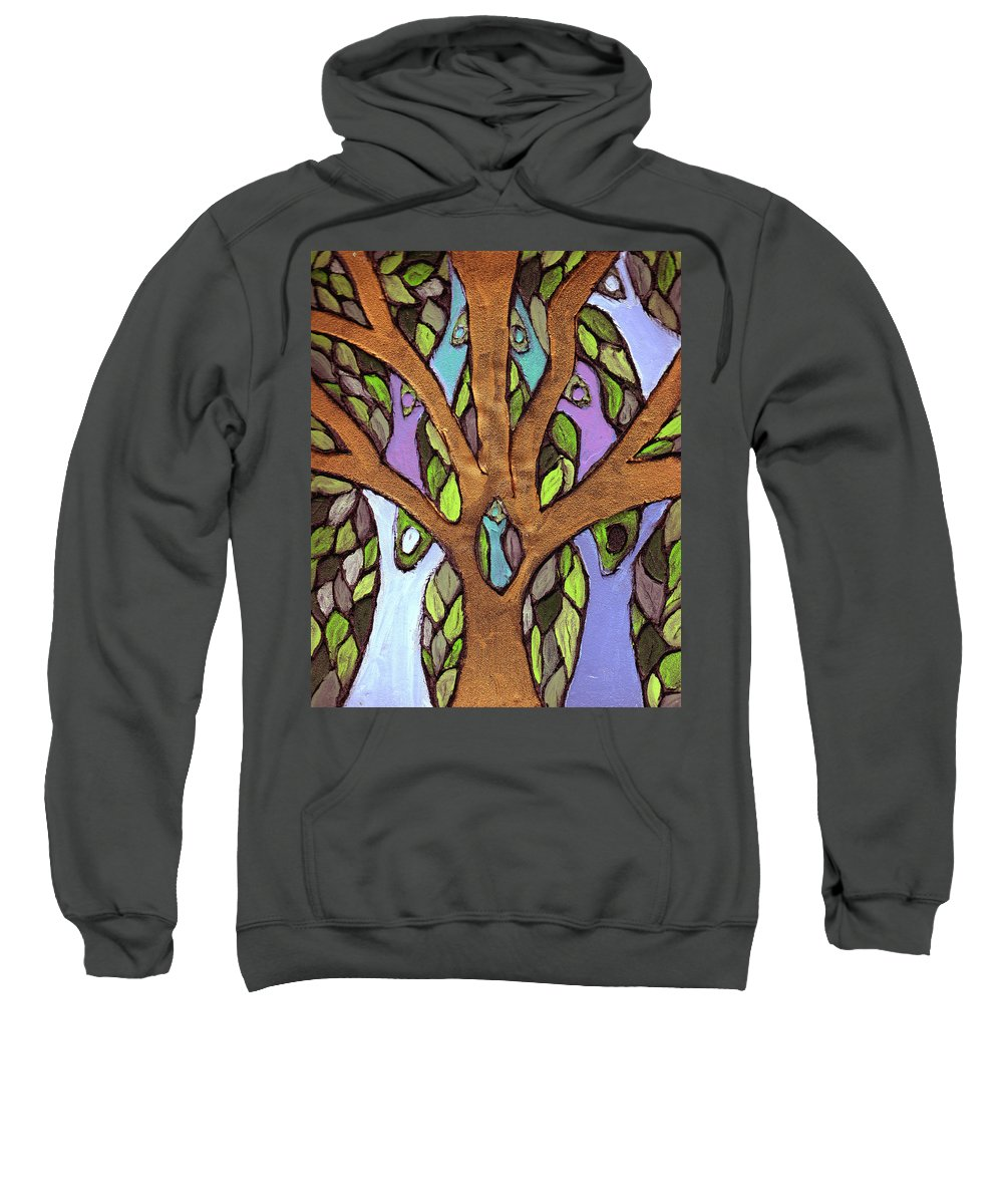 Family Sweatshirt featuring the painting All For One by Wayne Potrafka
