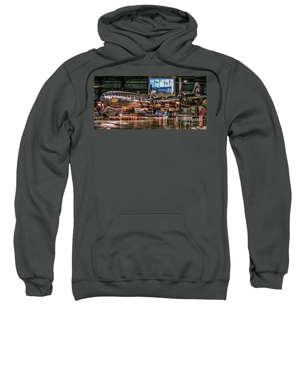 Usaf Museum Sweatshirt featuring the photograph B-29 Bockscar by Tommy Anderson