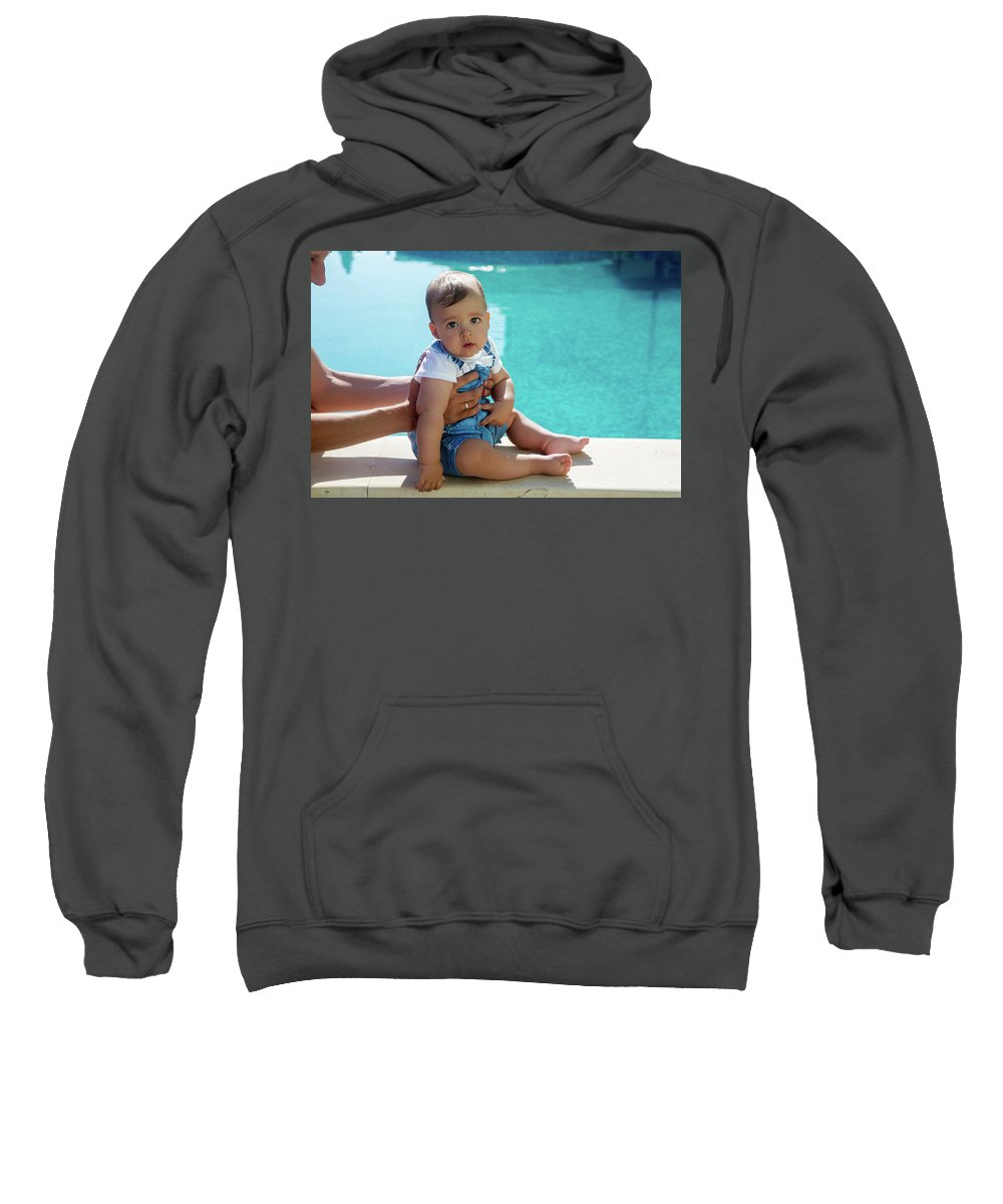 Pool Sweatshirt featuring the photograph Baby Boy Sitting By The Pool by Elena Saulich