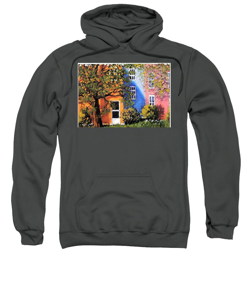 Scenic Sweatshirt featuring the painting Backyard by Jonathan Carter