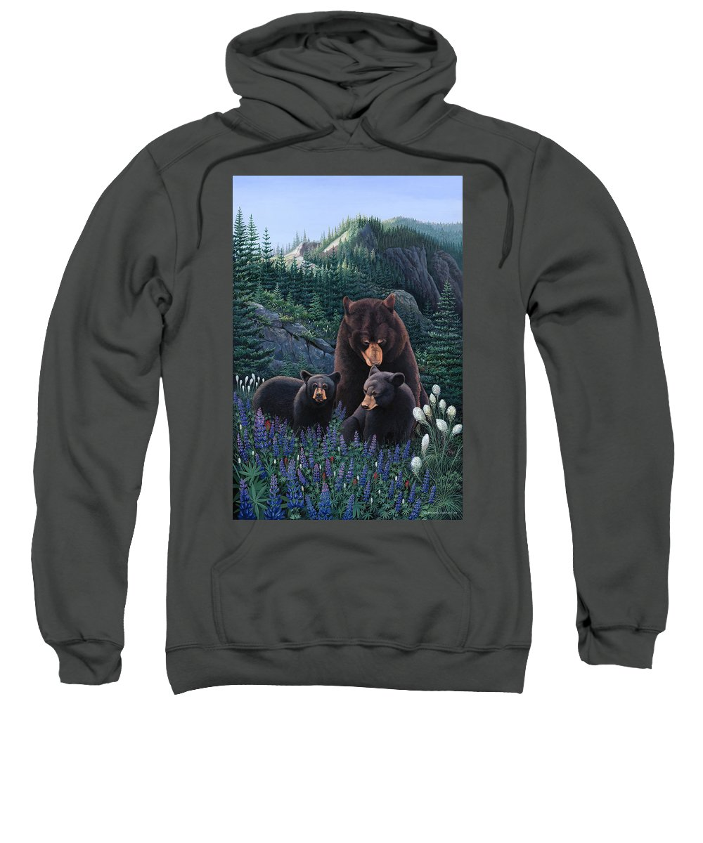 Bears Sweatshirt featuring the painting Bears On Snow Peak Painting by Michael Bartlett