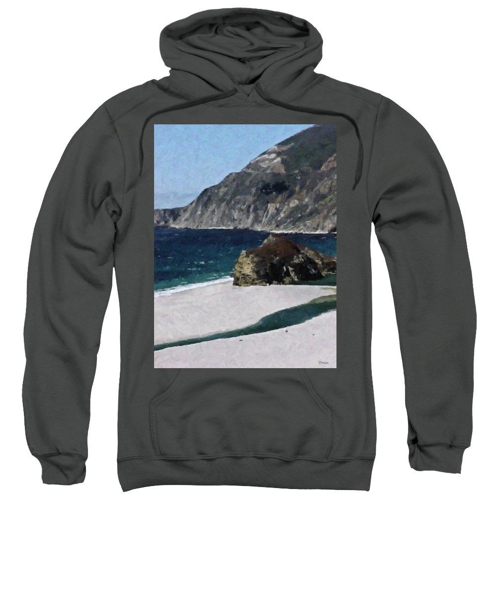 Big Sweatshirt featuring the digital art Big Sur California by Teresa Mucha