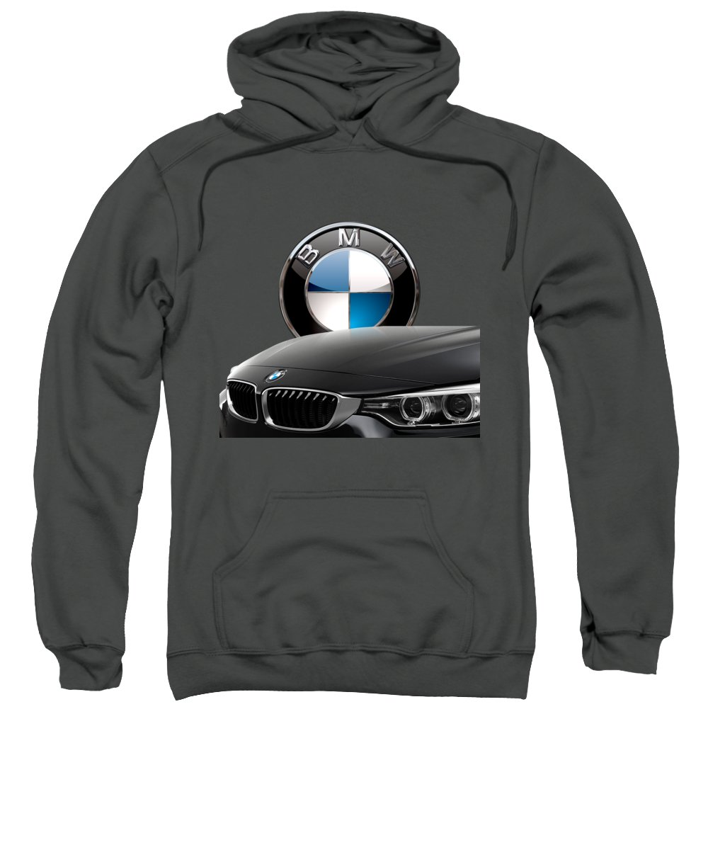 �auto Badges� Collection By Serge Averbukh Sweatshirt featuring the photograph Black B M W - Front Grill Ornament And 3 D Badge On Red by Serge Averbukh