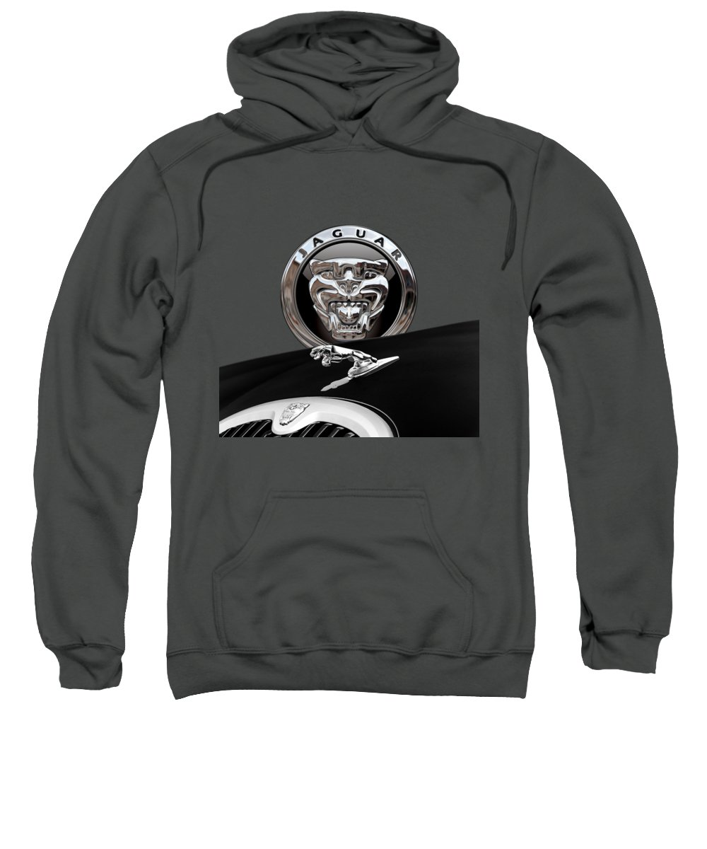 'auto Badges' Collection By Serge Averbukh Sweatshirt featuring the photograph Black Jaguar - Hood Ornaments And 3 D Badge On Red by Serge Averbukh