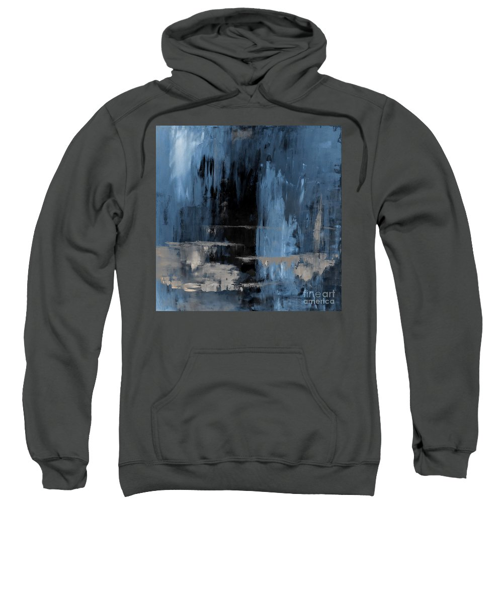 Blue Sweatshirt featuring the painting Blue Abstract 12m2 by Voros Edit