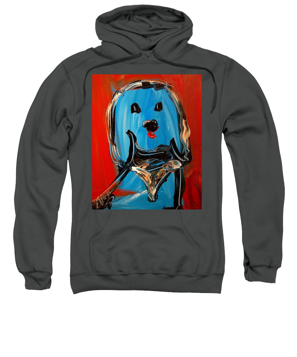 Surreal Framed Prints Sweatshirt featuring the painting Blue Dog by Mark Kazav