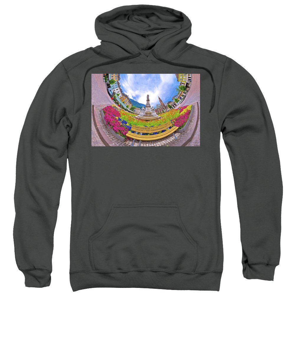 Bolzano Sweatshirt featuring the photograph Bolzano Main Square Planet Perspective Panorama by Brch Photography