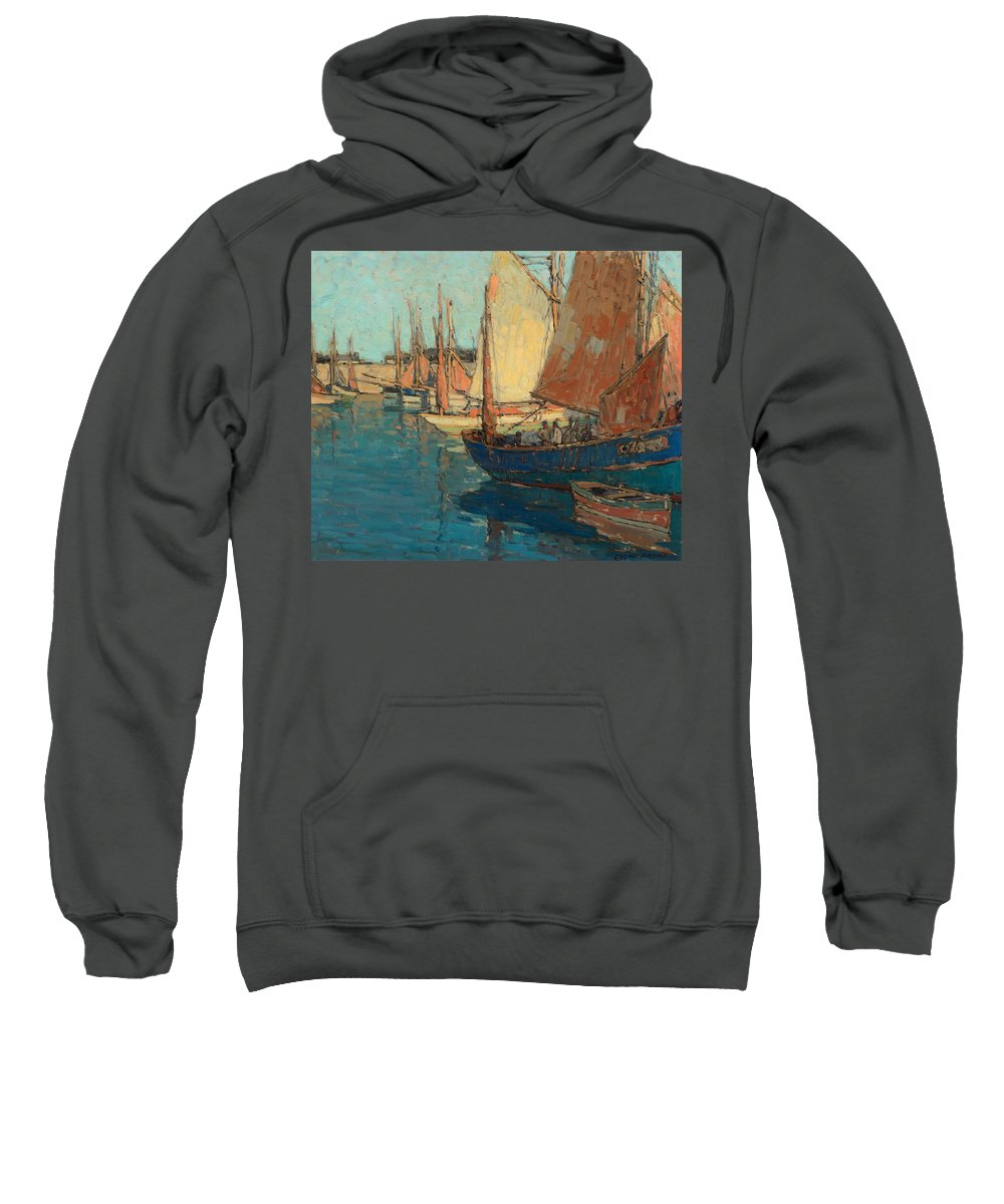 Edgar Payne Sweatshirt featuring the painting Brittany Boats by Celestial Images