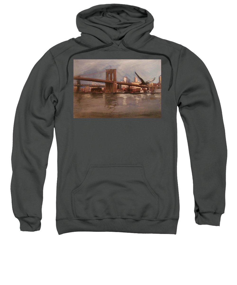 Brooklyn Bridge Sweatshirt featuring the painting Brooklyn Bridge by Anita Burgermeister