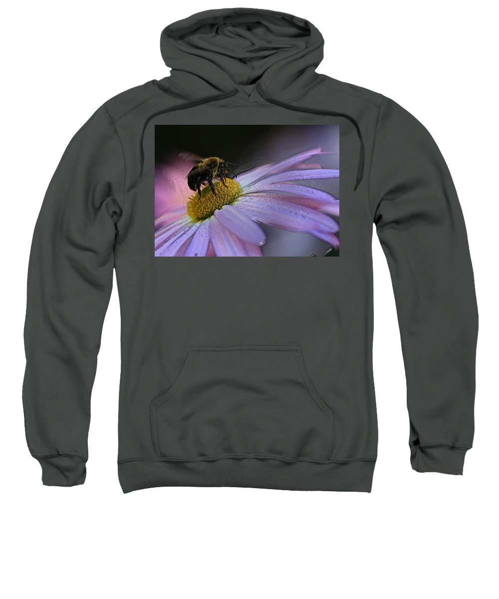 Bee Sweatshirt featuring the photograph Bumble Bee On Flower by Ronnie Corn