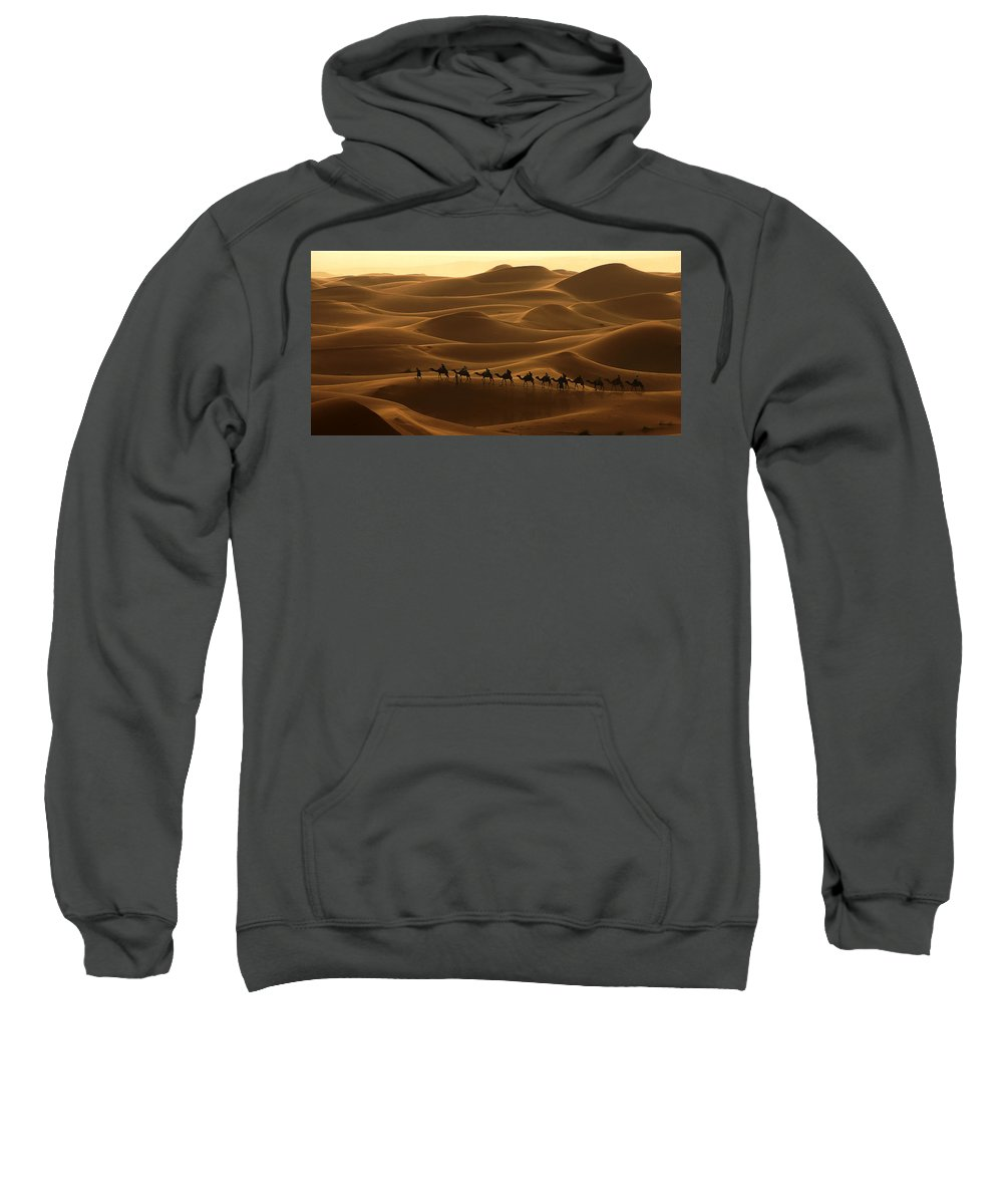 Camel Sweatshirt featuring the photograph Camel Caravan In The Erg Chebbi Southern Morocco by Ralph A Ledergerber-Photography