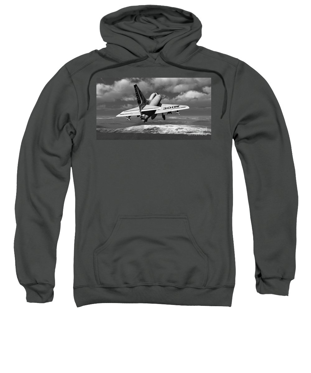 Aviation Sweatshirt featuring the digital art Carrier Launch by Richard Rizzo