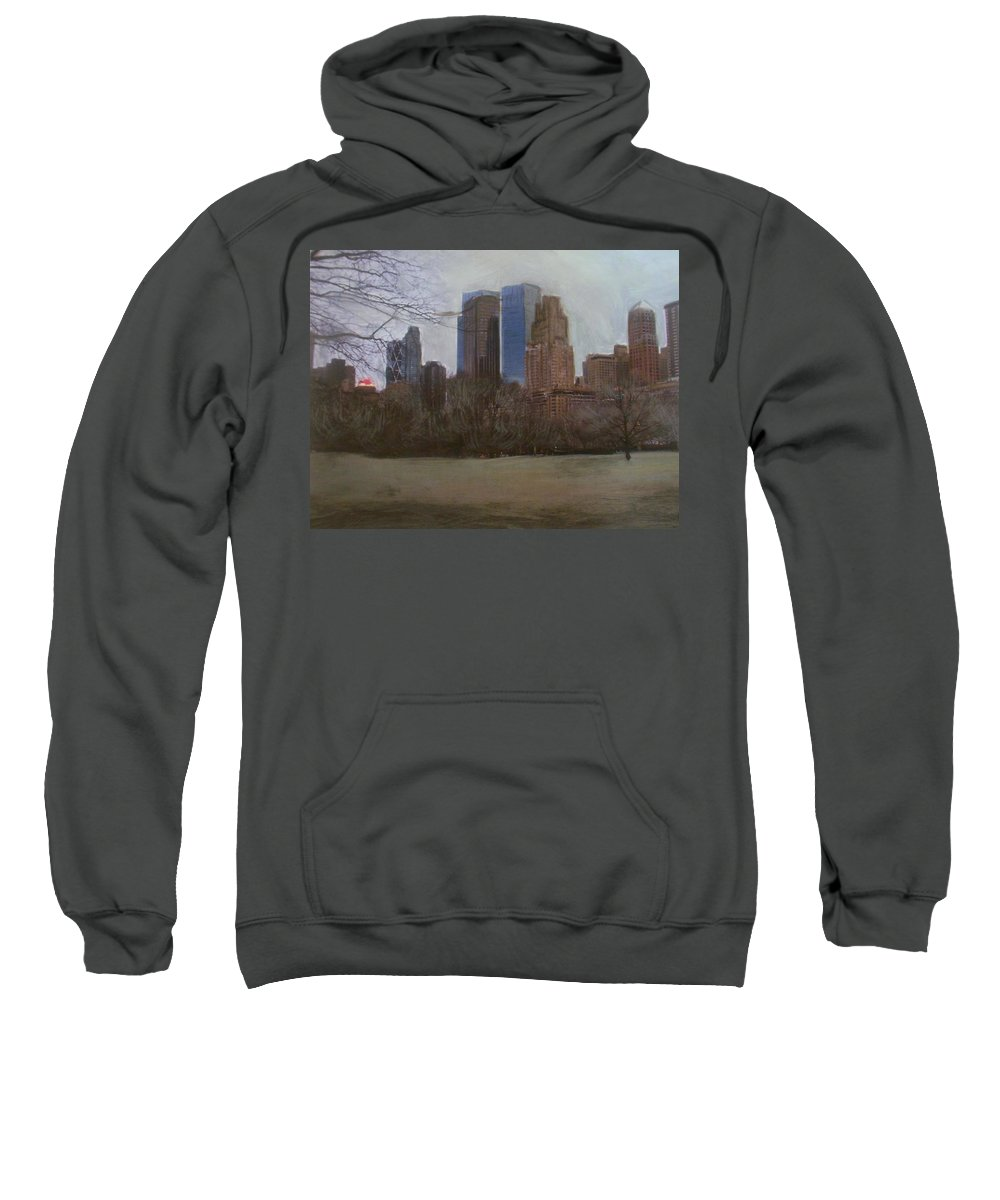 Central Park Sweatshirt featuring the painting Central Park by Anita Burgermeister