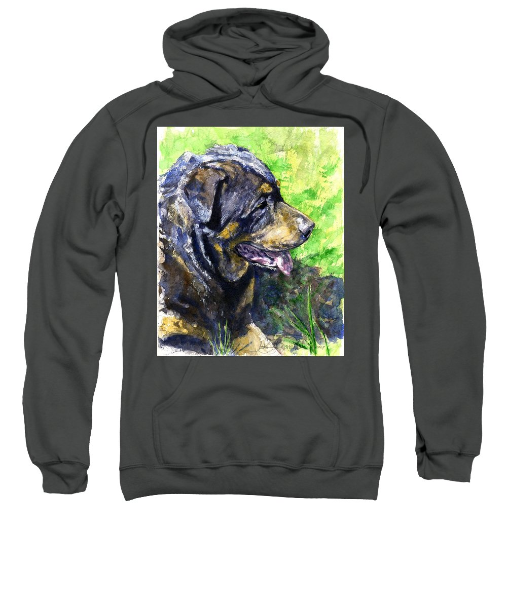 Rottweiler Sweatshirt featuring the painting Chaos by John D Benson