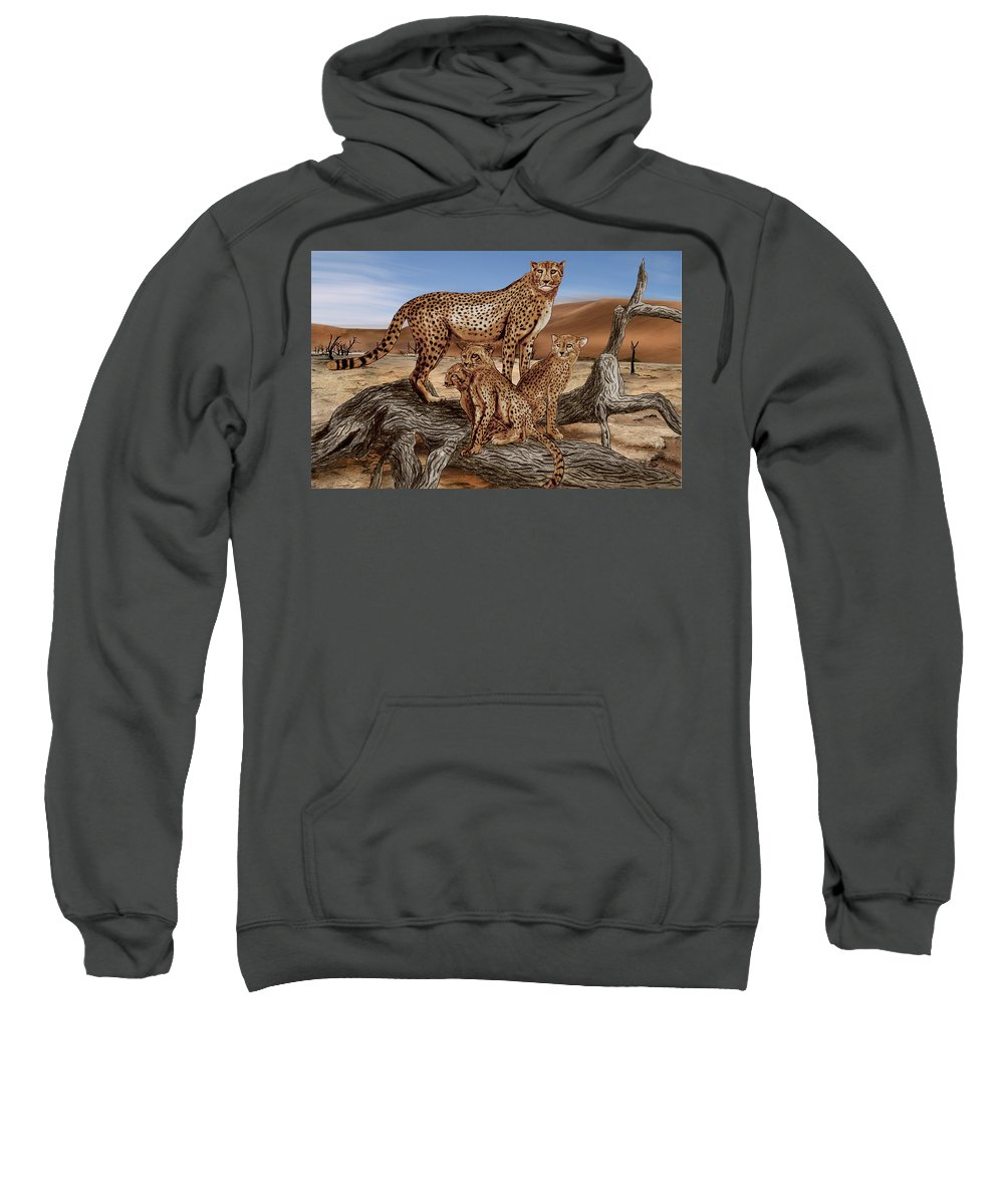 Cheetah Family Tree Sweatshirt featuring the drawing Cheetah Family Tree by Peter Piatt