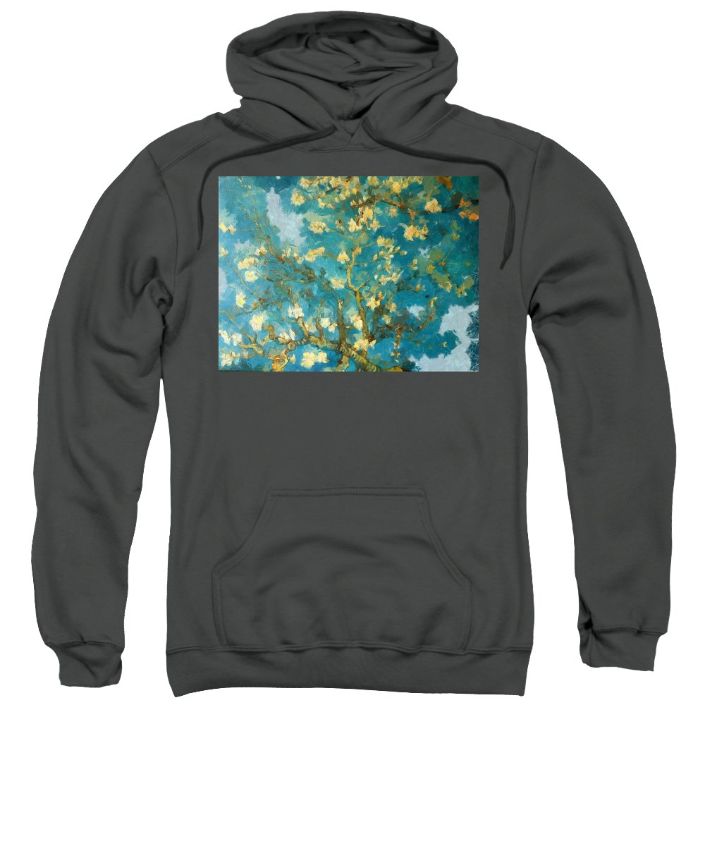 Abstract Sweatshirt featuring the digital art Cherry Blossoms by Ronald Bolokofsky