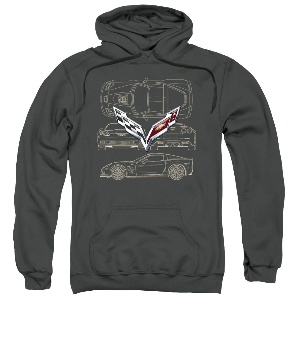 �wheels Of Fortune� By Serge Averbukh Sweatshirt featuring the photograph Chevrolet Corvette 3 D Badge Over Corvette C 6 Z R 1 Blueprint by Serge Averbukh