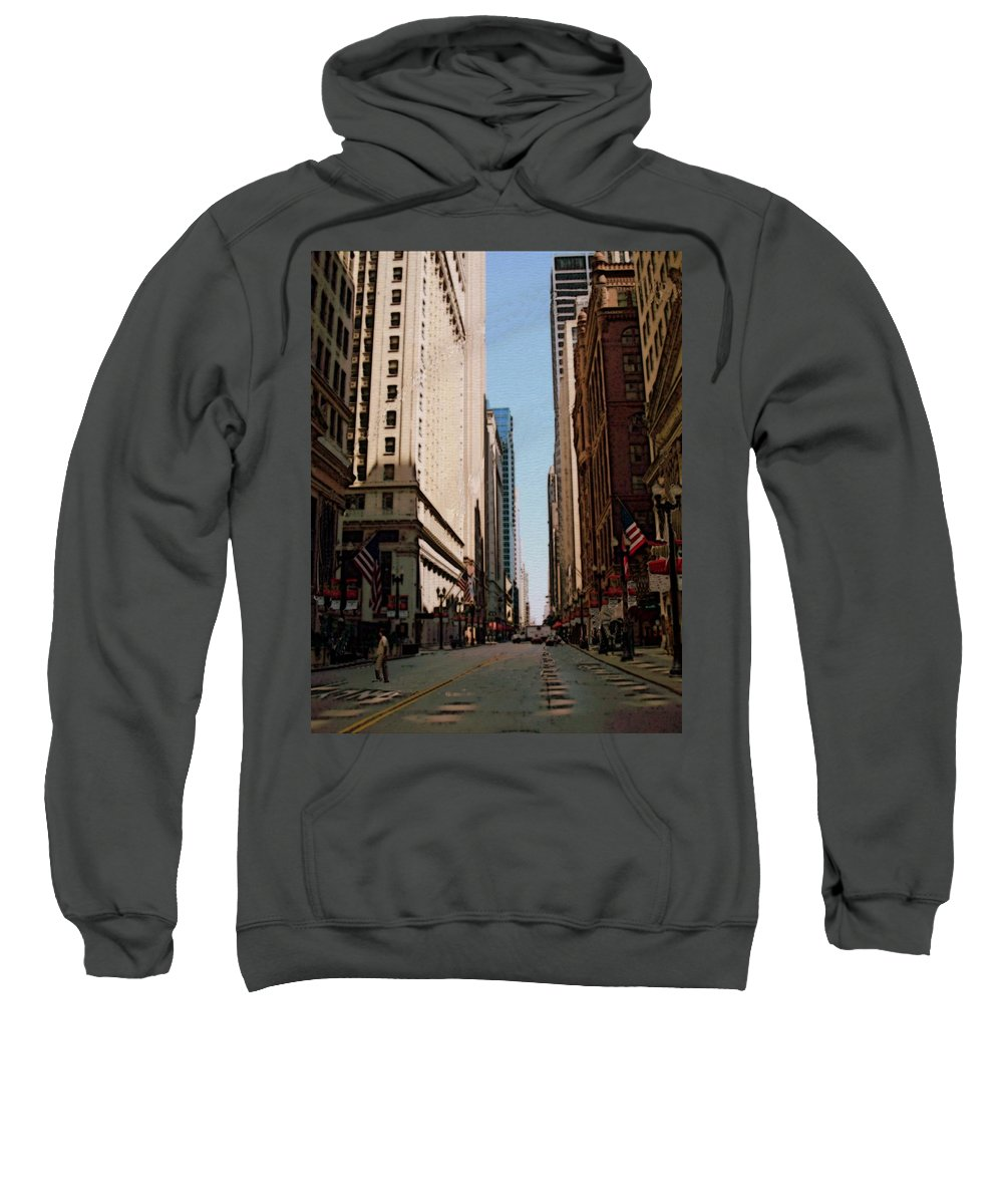 Chicago Sweatshirt featuring the digital art Chicago Street With Flags by Anita Burgermeister