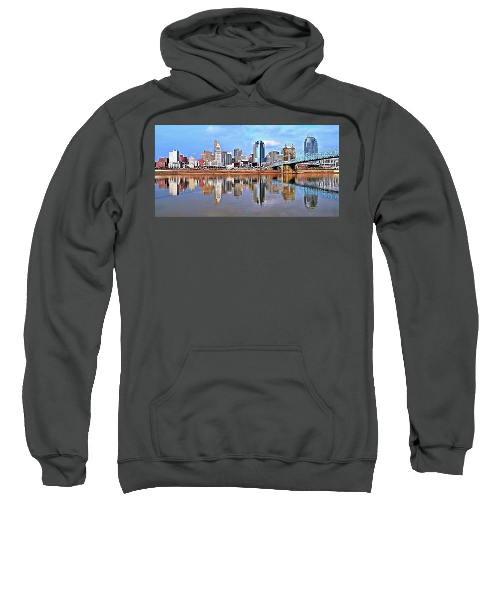 Cincinnati Sweatshirt featuring the photograph Cincinnati Reflects by Frozen in Time Fine Art Photography