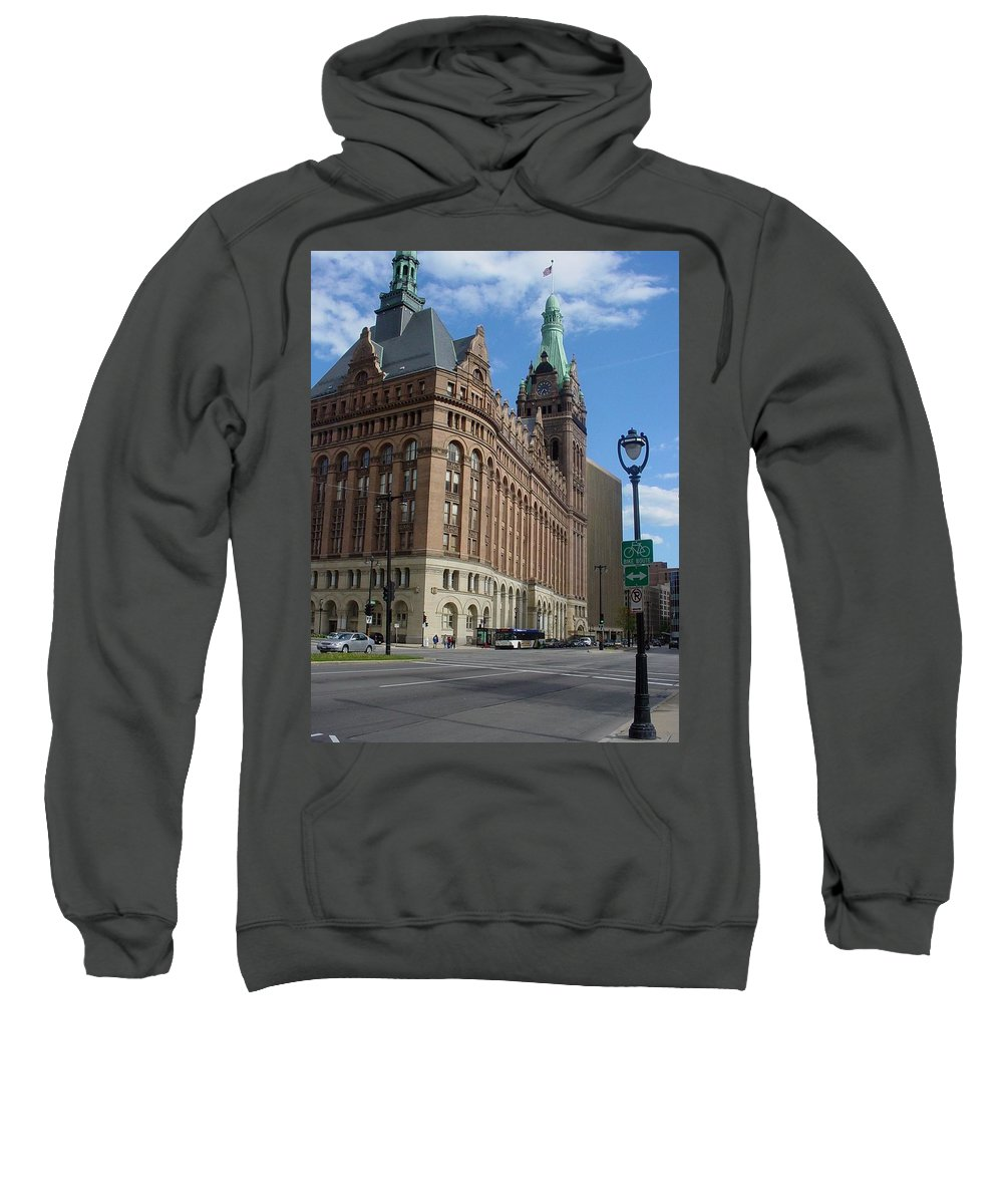 Milwaukee Sweatshirt featuring the photograph City Hall And Lamp Post by Anita Burgermeister