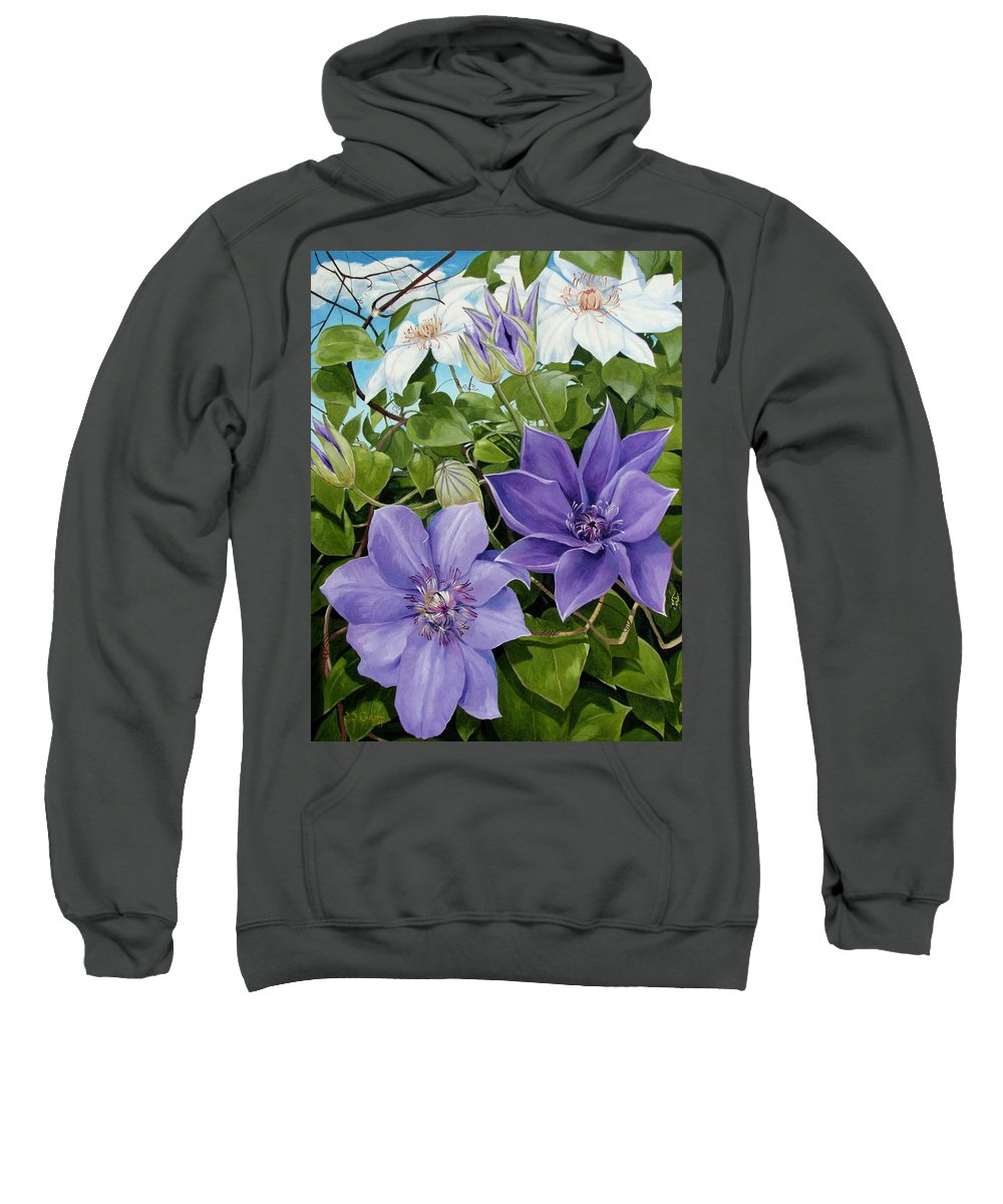 Clematis Sweatshirt featuring the painting Clematis 2 by Jerrold Carton