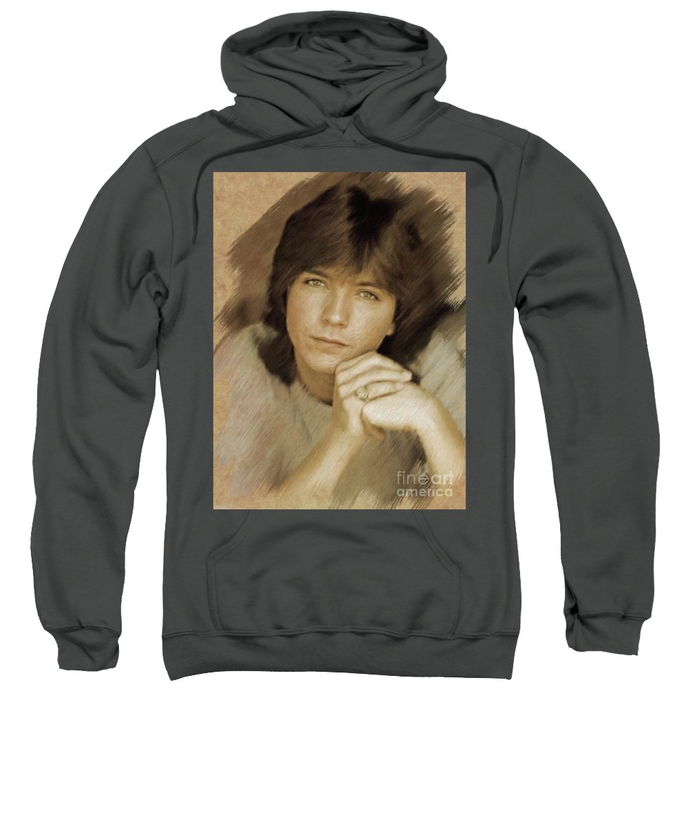 David Sweatshirt featuring the painting David Cassidy, Actor by Mary Bassett