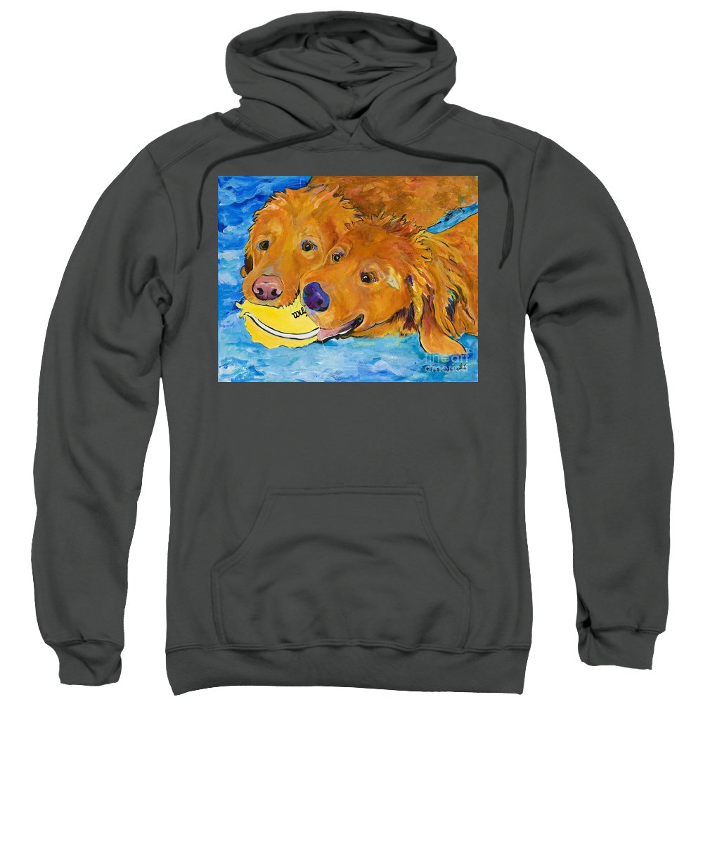 Golden Retriever Sweatshirt featuring the painting Double Your Pleasure by Pat Saunders-White