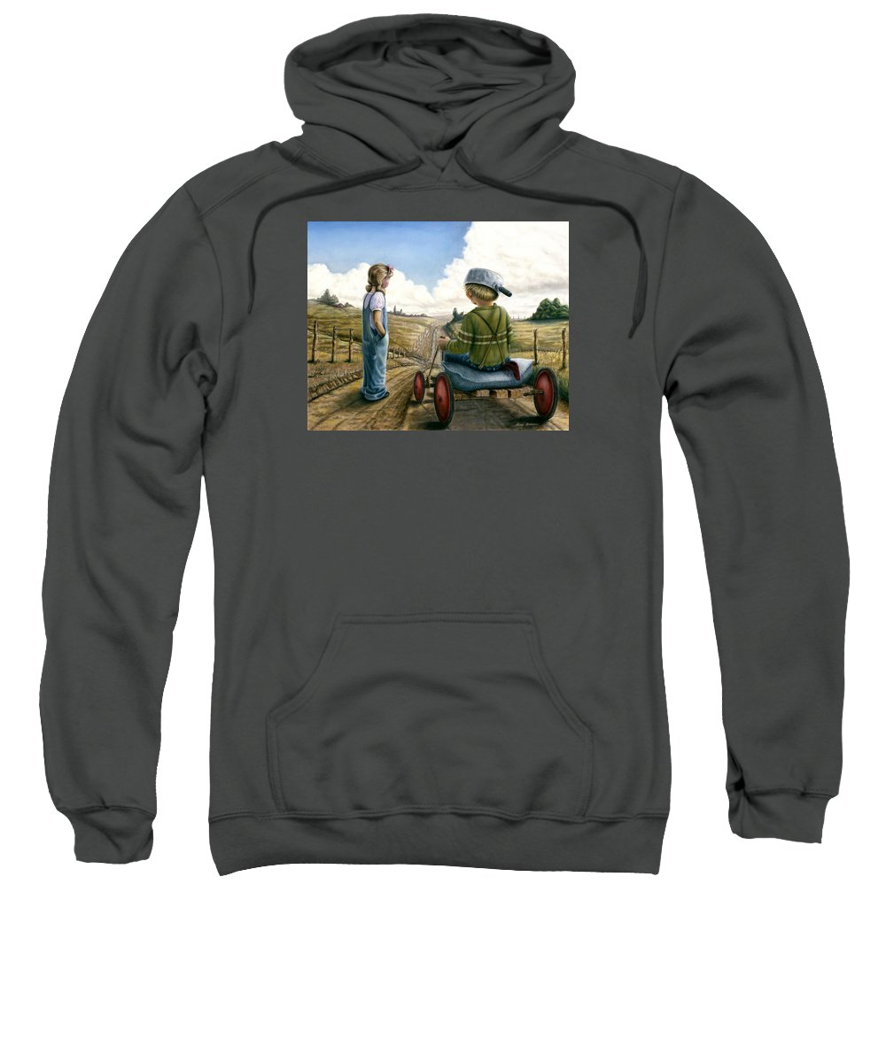 Children Playing Sweatshirt featuring the painting Down Hill Racer by Lance Anderson