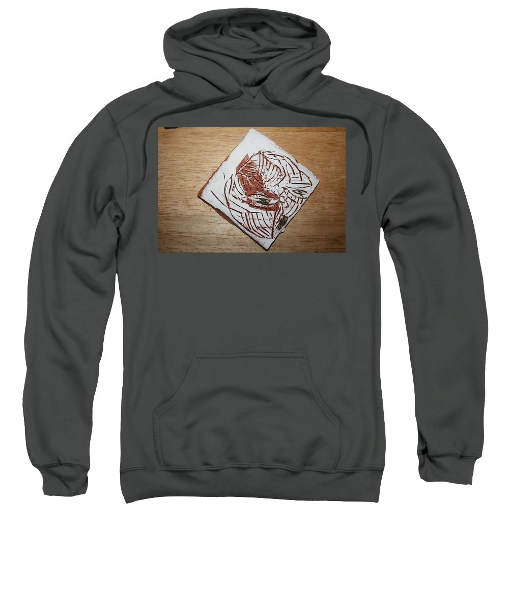 Jesus Sweatshirt featuring the ceramic art Edith - Tile by Gloria Ssali