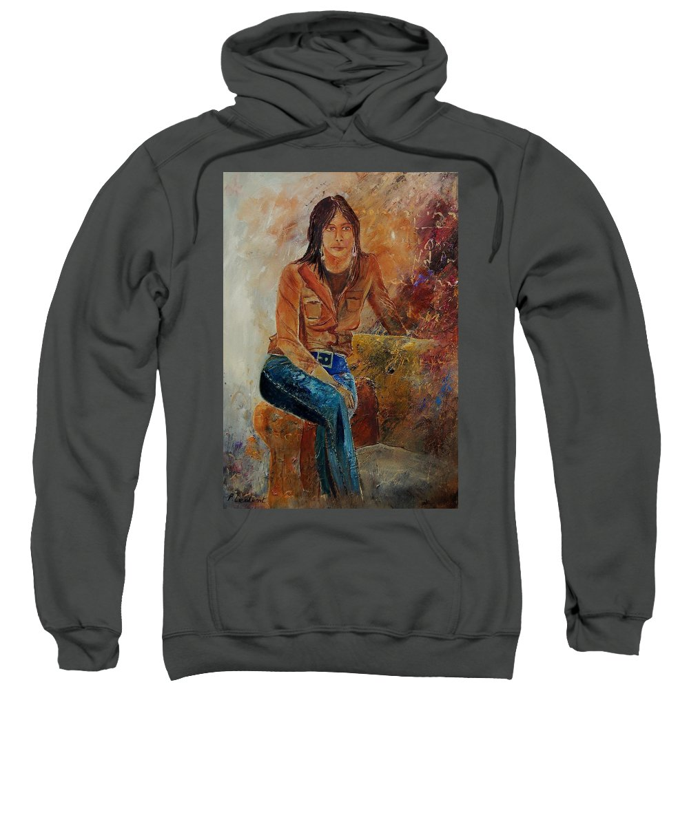 Girl Sweatshirt featuring the painting Eglantine 579001 by Pol Ledent