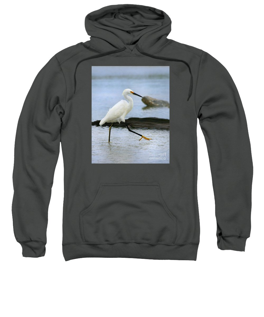 Sweatshirt featuring the photograph Egret Step by Angela Rath
