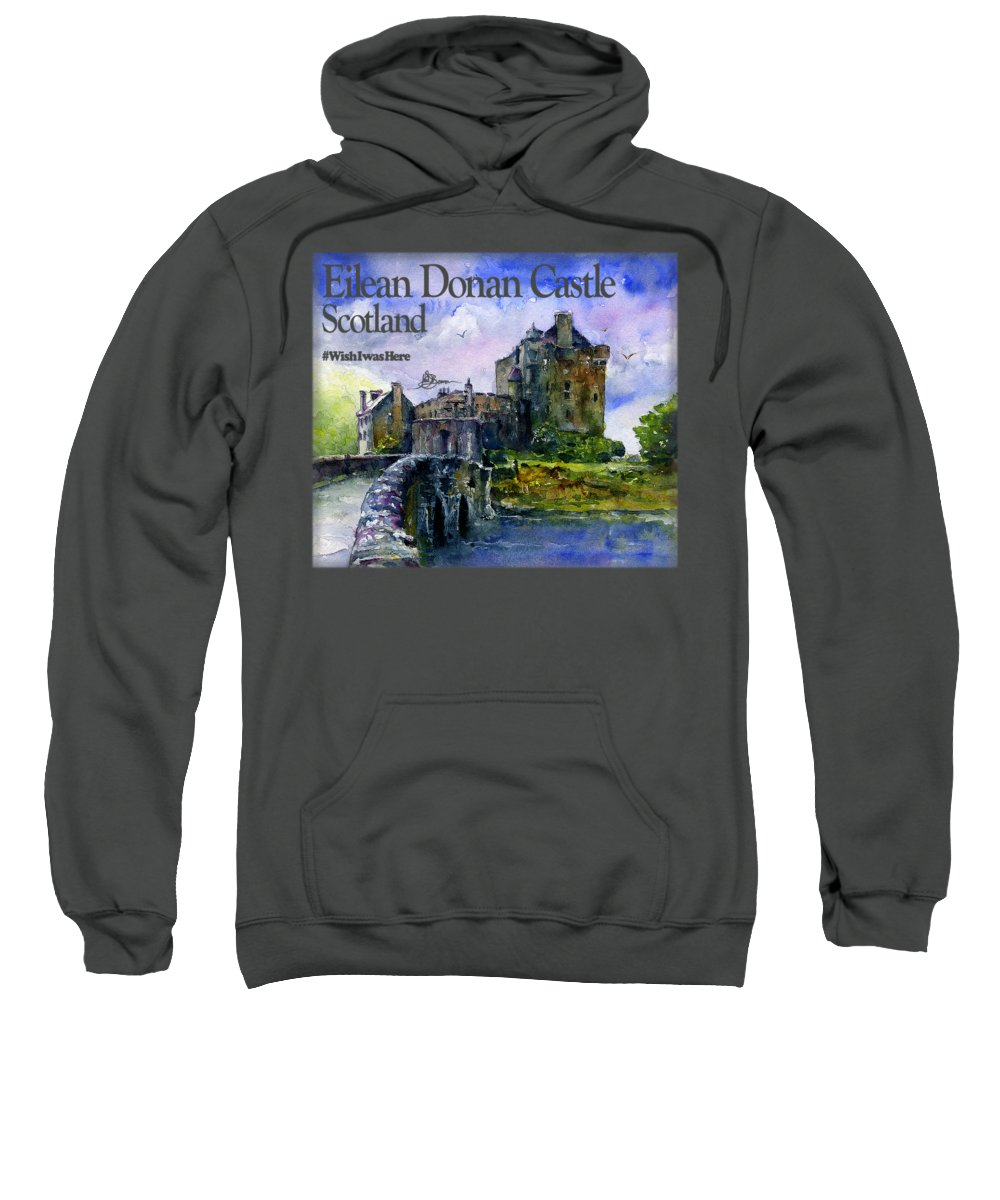 Scotland Sweatshirt featuring the painting Eilean Donan Castle Scotland by John D Benson