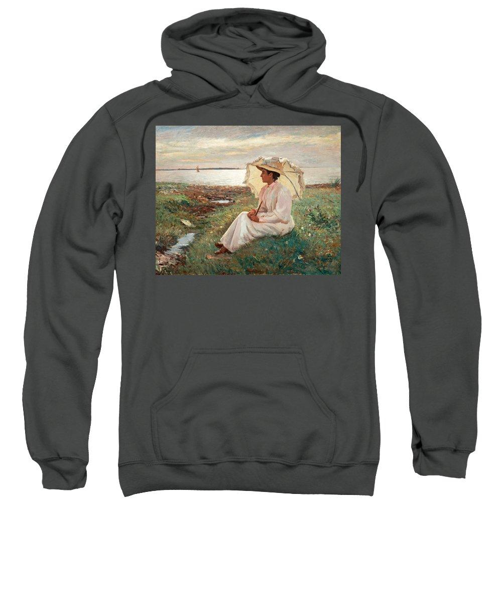 Carl Tr�g�rdh 1861-1899 Elegant Lady By The Sea Sweatshirt featuring the painting Elegant Lady By The Sea by MotionAge Designs