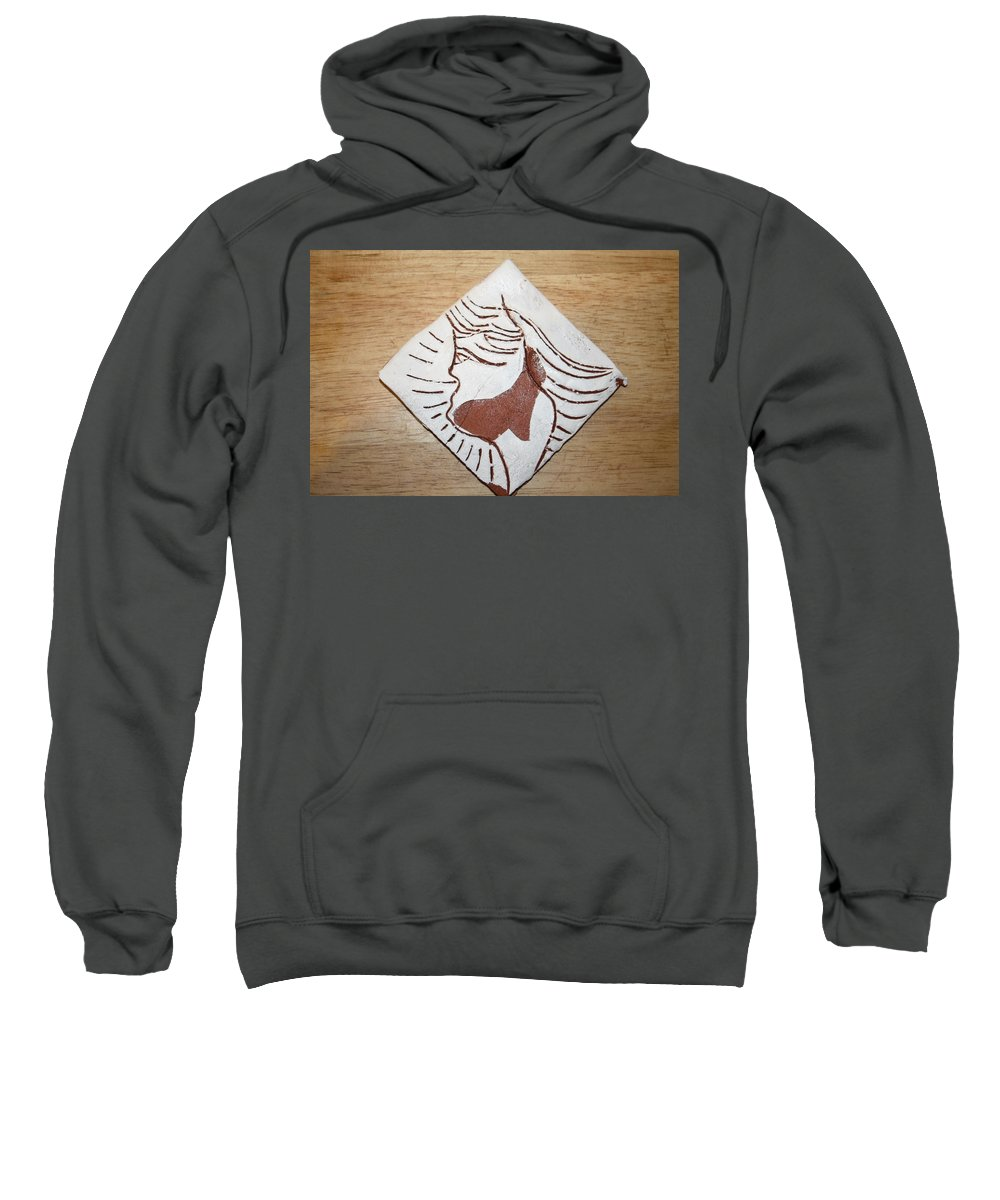Jesus Sweatshirt featuring the ceramic art Exclamation - Tile by Gloria Ssali