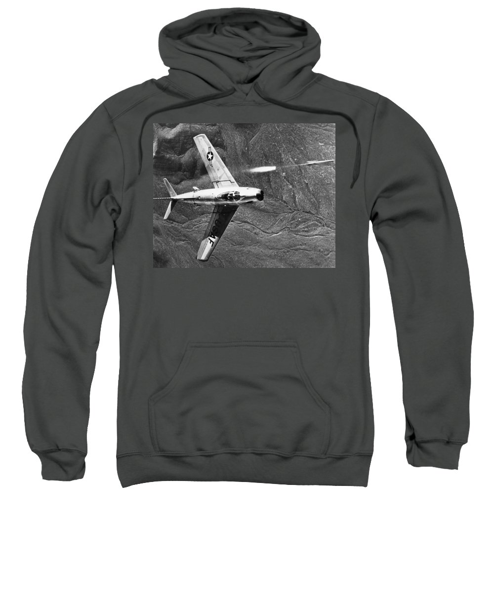 1951 Sweatshirt featuring the photograph F-86 Jet Fighter Plane by Granger