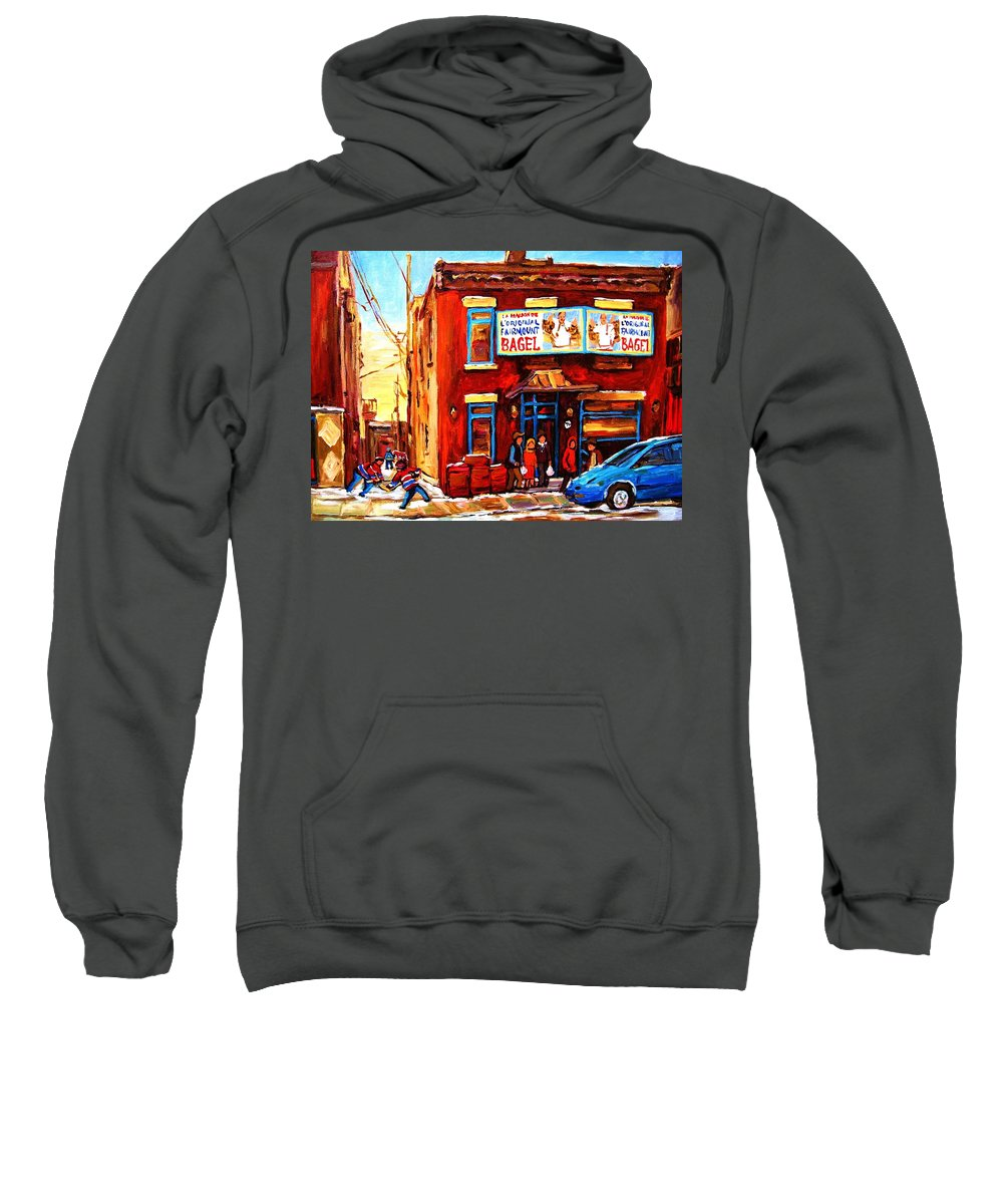 Hockey Sweatshirt featuring the painting Fairmount Bagel In Winter by Carole Spandau