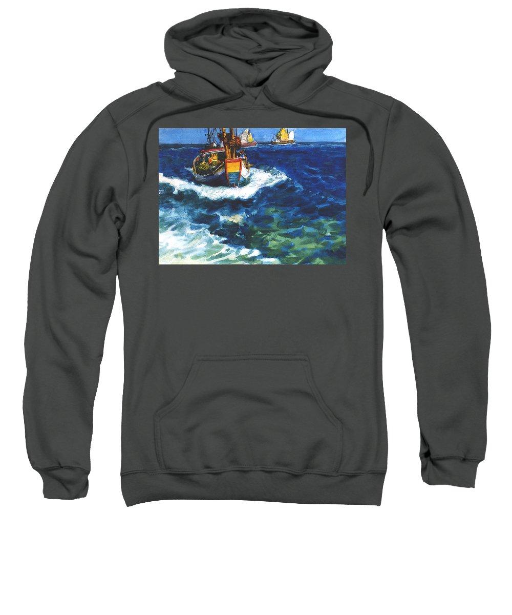 Fishing Sweatshirt featuring the painting Fishing Boat by Guanyu Shi