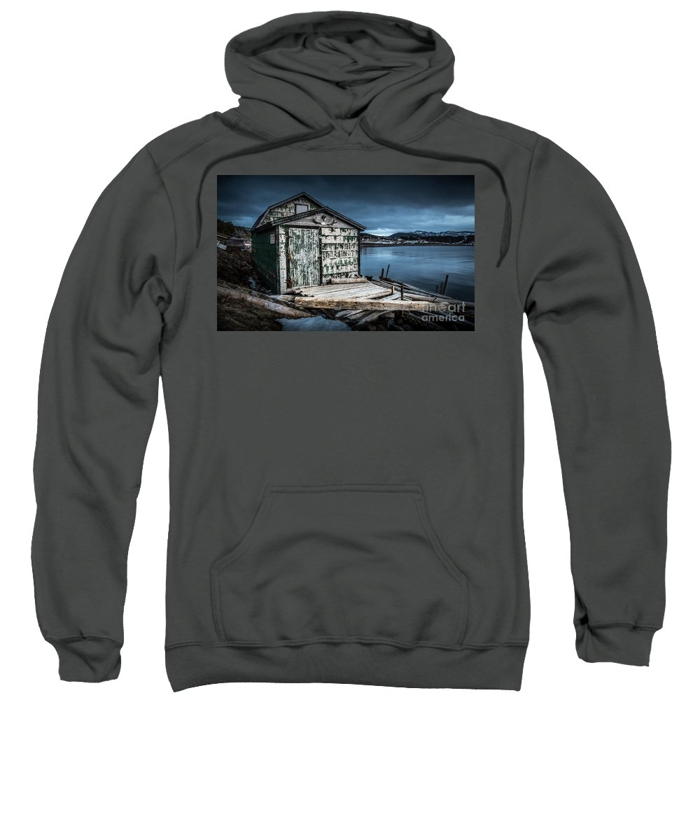 Black And White Sweatshirt featuring the photograph Fishing Shack And Wharf In Norris Point, Newfoundland by Mike Organ