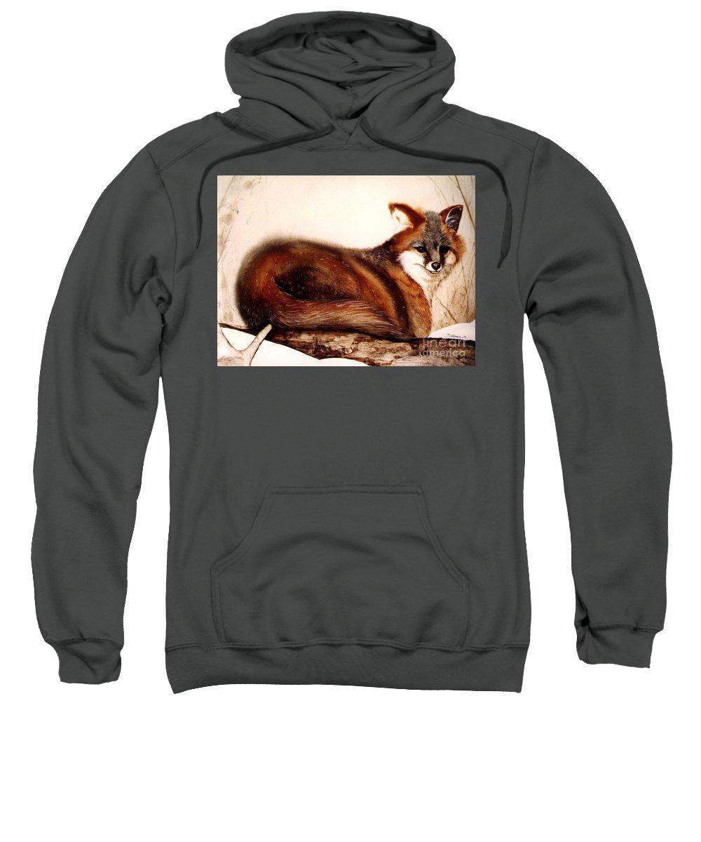 Fox Sweatshirt featuring the painting Fox by Kay Robinson