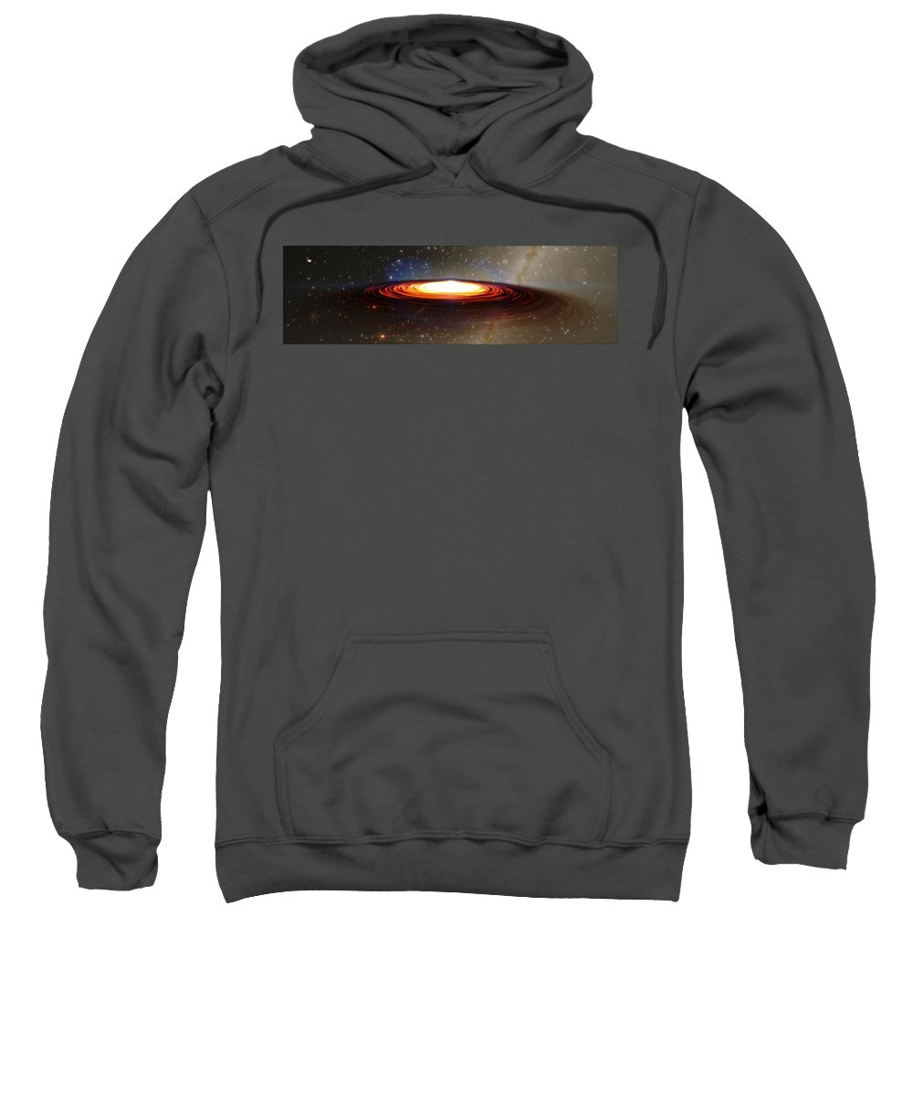 Galactic Core Sweatshirt featuring the digital art Galactic Core by Marjan Mencin