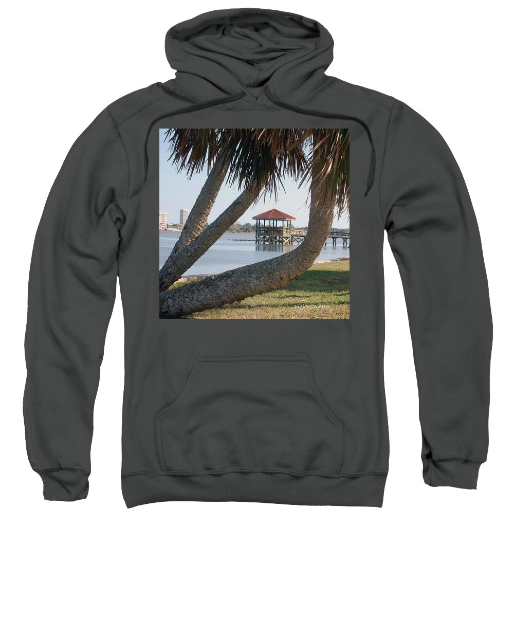 Dock Sweatshirt featuring the digital art Gazebo Dock Framed By Leaning Palms by DigiArt Diaries by Vicky B Fuller