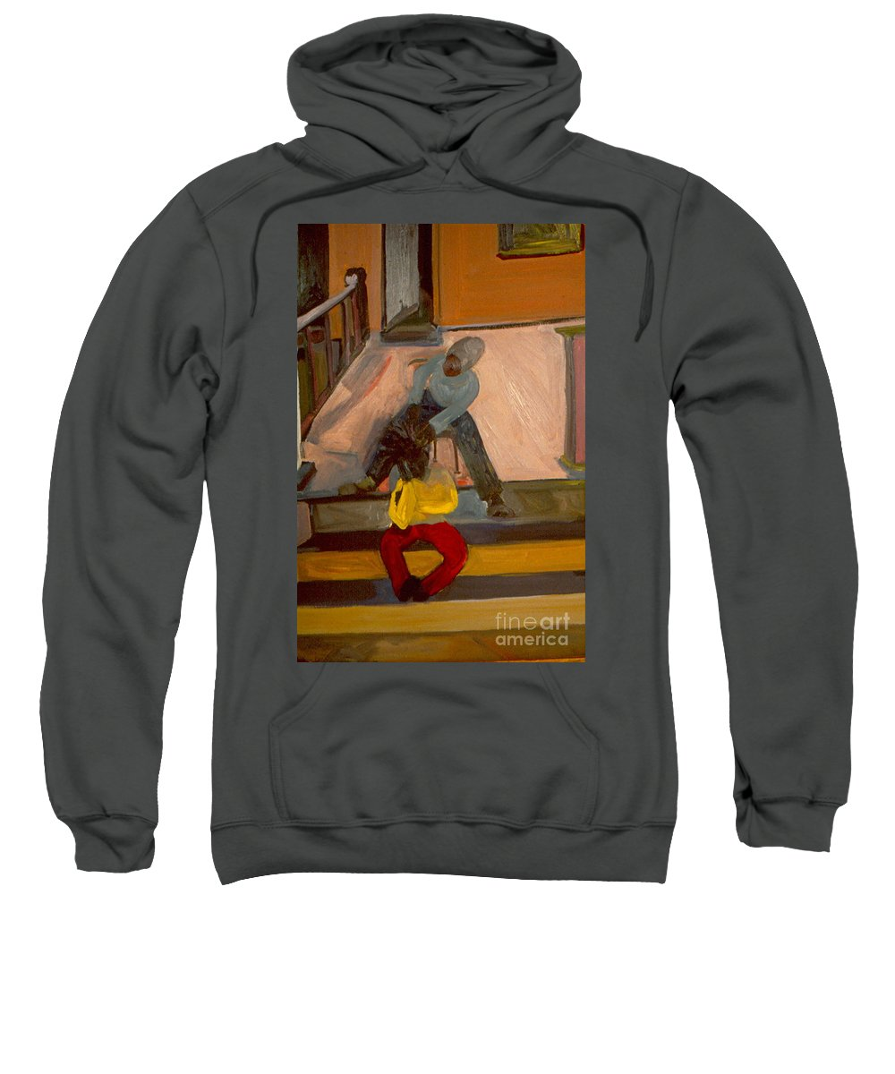 Neighborhood Sweatshirt featuring the painting Gettin Braids by Daun Soden-Greene